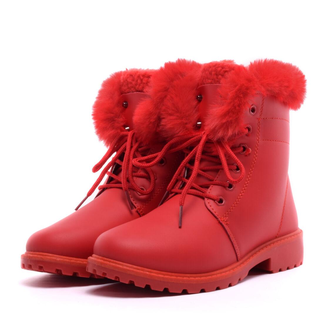 dc5c28bd00 Női Piros Műbőr Bundás Bakancs - BAKANCSOK - Női cipő webáruház-női ...