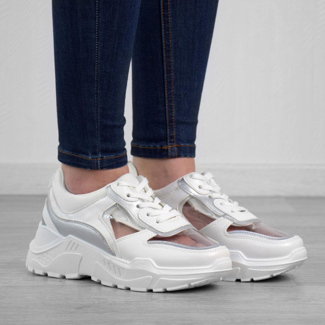 78c4094081 Fehér magas talpú női poliészter utcai cipő - SPORTCIPŐK - Női cipő ...