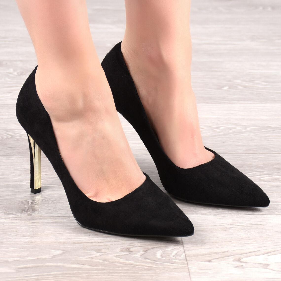 72fcb52714 Fekete Metál Sarkú Női Művelúr Magassarkú - ALKALMI CIPŐK - Női cipő ...