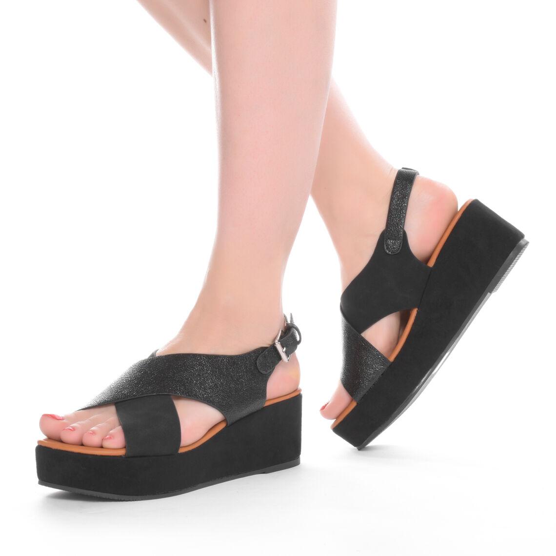 8ee35ac5f8 Női Fekete Műbőr Telitalpú Szandál - TELITALPÚ SZANDÁLOK - Női cipő ...