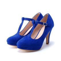 Kék női pántos művelúr magassarkú