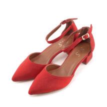 Női piros trottőr sarkú művelúr cipő