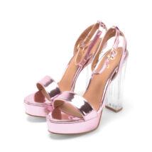 Rózsaszín átlátszó sarkú női lakk platformos magassarkú
