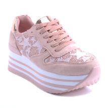 Női Platformos Műbőr Sportcipő Rózsaszín