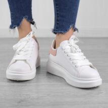 Fehér-Rózsaszín Női Műbőr Utcai Félcipő