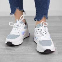 Szürke-Fehér-Rózsaszín Női Poliészter Sportcipő