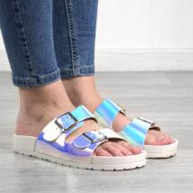 Fehér hologramos női szintetikus papucs