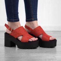 Piros platformos női művelúr magassarkú szandál