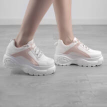 Fehér / Rózsaszín Női Magastalpú Műbőr Félcipő