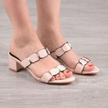 Bézs lakkhatású divatos női papucs