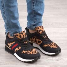 Fekete / Leopárd mintás Női Szintetikus Utcai Cipő