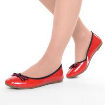 Női Piros Lakk Fekete Szegélyű Masnis Balerina Cipő