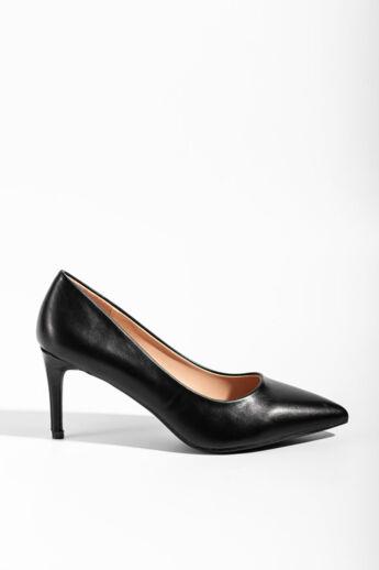 Fekete Szatén Női Magassarkú Cipő