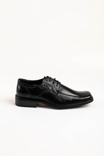 Fekete Férfi Fűzős Valódi Bőr Minimalista Utcai-Alkalmi Cipő Szögletes Orral