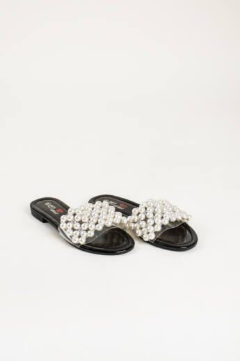 Fekete Fehér Gyöngyökkel Díszített Női Műbőr Papucs