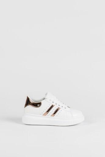 Fehér-Rózsaarany Magas Talpú Női Sneaker