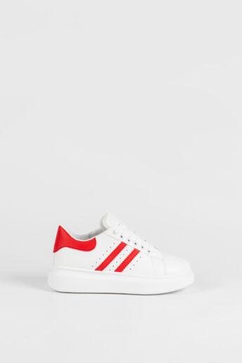 Fehér-Piros Magas Talpú Női Sneaker