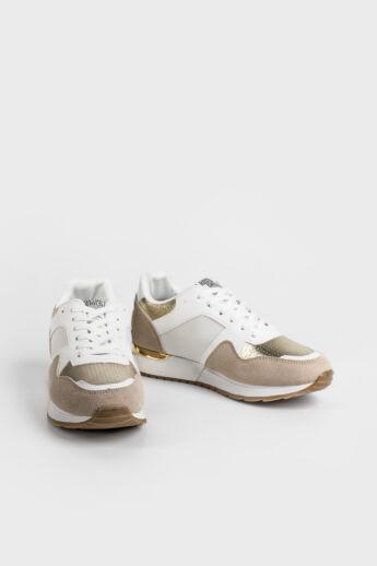 Bézs Arany Női Sneaker Sarok Dísszel