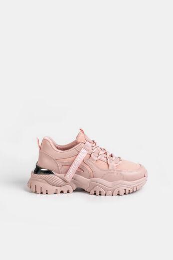Világos Rózsaszín Magas Talpú Női Sneaker