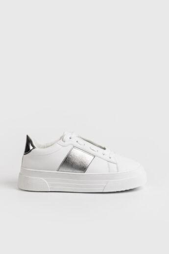 Fehér/Ezüst Magas Talpú Női Sneaker Gumírozott Betéttel
