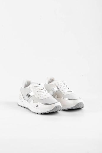 Fehér/Ezüst Csillogó Női Sneaker Sarok Dísszel
