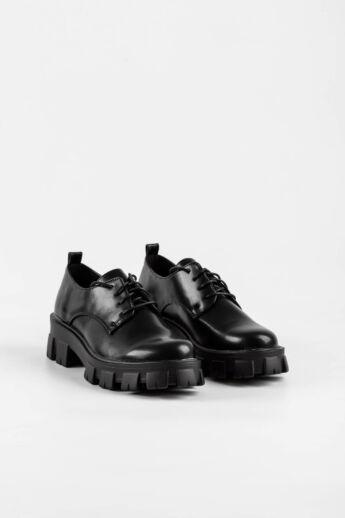 Fekete Magas Talpú Női Műbőr Utcai Cipő