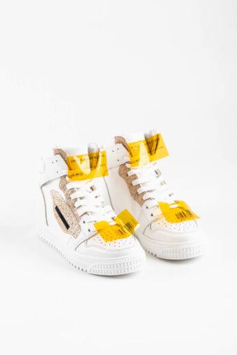 Arany/Fehér Magasszárú Vászon Női Sneaker