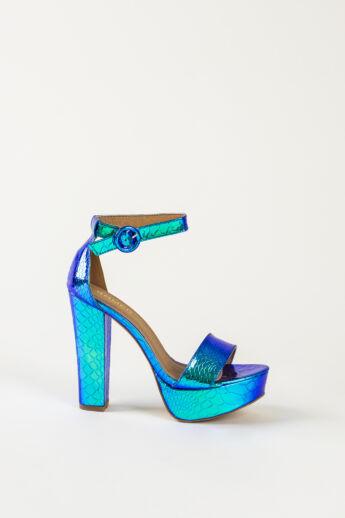 Kék Hologramos Kígyóbőr Hatású Női Magassarkú Alkalmi Szandál
