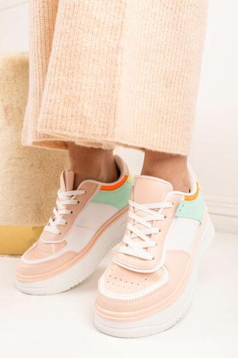 Világosrózsaszín Színes Magas Talpú Női Fűzős Sneaker