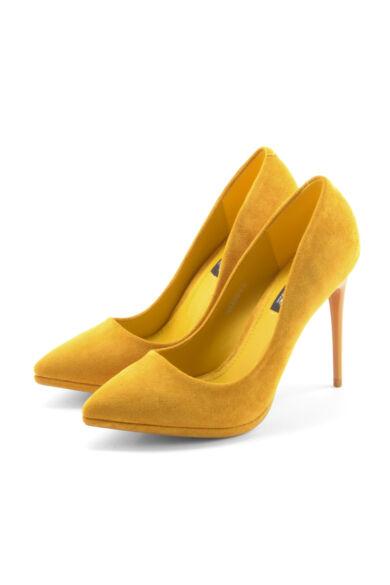 Női Mustársárga Művelúr Magassarkú Cipő