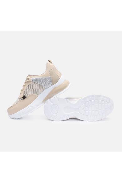 Vastag talpú bézs cipő csillámos betéttel