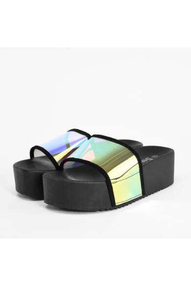 Fekete Hologramos Női Magastalpú Poliészter Papucs