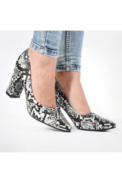Női Fekete-fehér Kigyómintás Műbőr Magassarkú Cipő