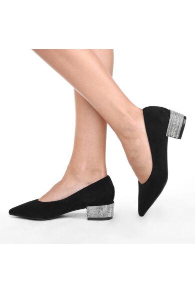 Fekete női strasszos művelúr trottőr sarkú cipő