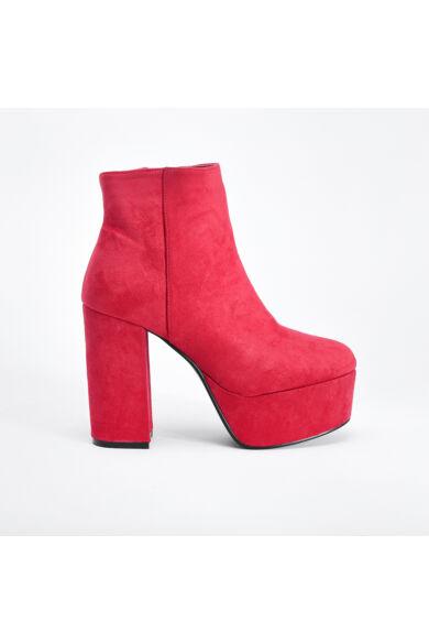 Piros Művelúr Női Magassarkú Platformos Csizma