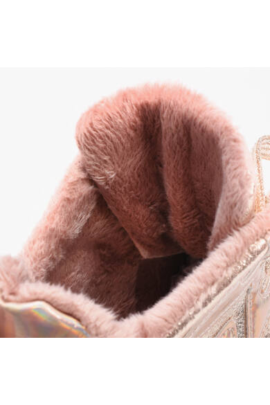 Világos Rózsaszín Női Bélelt Szintetikus Félcipő