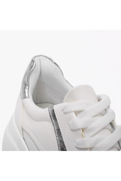Divatos Fehér-Ezüst Magastalpú Női Utcai Cipő