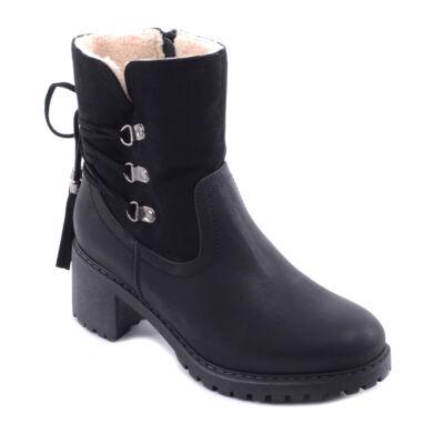 Női Bundás Fekete Műbőr Bokacsizma - BOKACSIZMÁK - Női cipő ... fe55d8d353