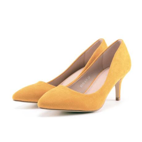 Sárga női művelúr magassarkú