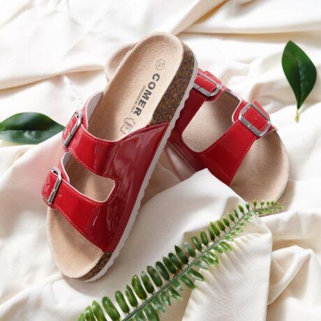 Piros Lakkbőr Női Kényelmi Papucs