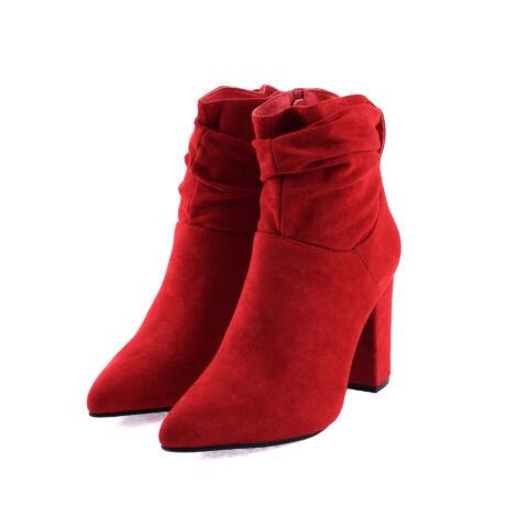 Női Piros Művelúr Magassarkú Bokacsizma