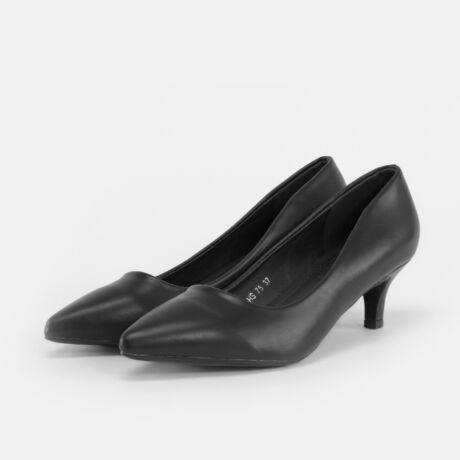 Small Swan Fekete Női Műbőr Hegyesorrú Törpesarkú Cipő