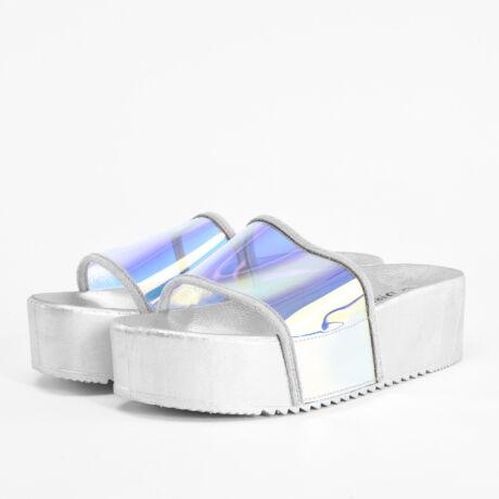 Ezüst Hologramos Női Magastalpú Poliészter Papucs
