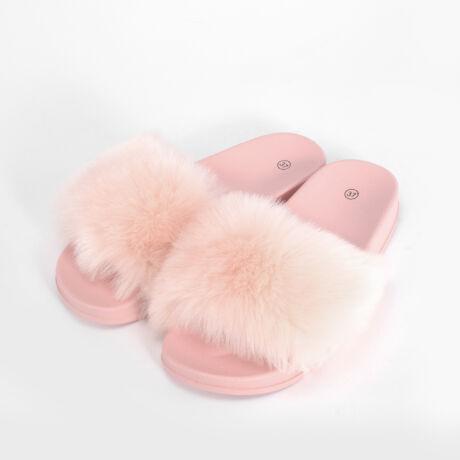 Rózsaszín Női Szőrmés Papucs