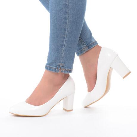 Női Fehér Lakk Magassarkú Cipő