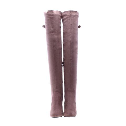 Khaki női művelúr hosszúszárú magassarkú csizma