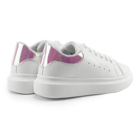 Fehér Női Műbőr Sportcipő Pink Díszítéssel