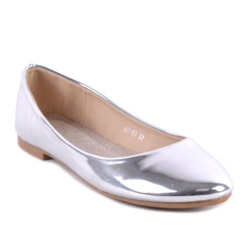 Női Lakk Balerina Cipő Ezüst Színben
