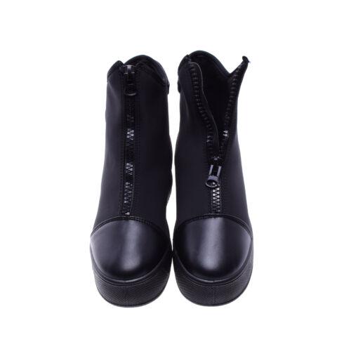 Női Fekete Műbőr Platform Félcipő
