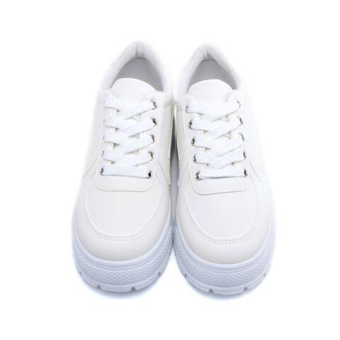 Fehér Műbőr Platformos Félcipő